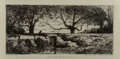 Fine Art - Work on Paper:Print, Adolphe Appian (French, 1818-1898). Environs De Rix (Ain),c. 1868. Etching on paper. 2-3/4 x 6 inches (7.0 x 15.2 cm) (...