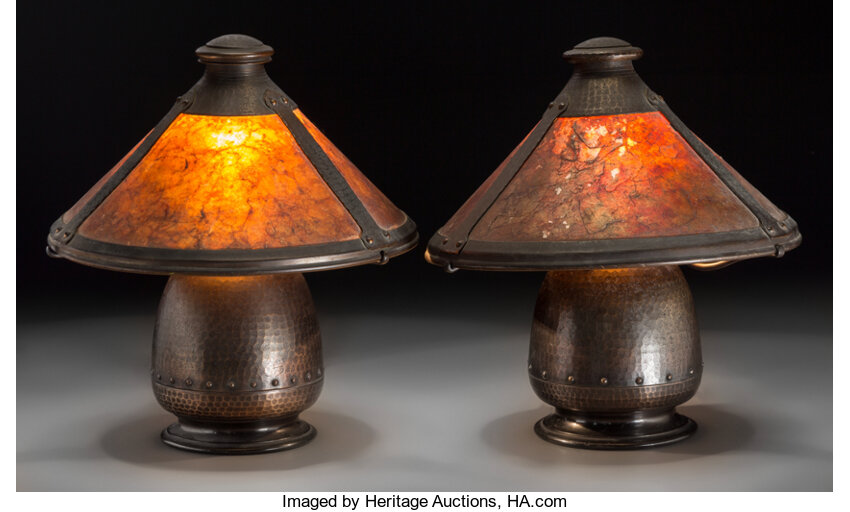 A pair of old mission kopperkraft arts crafts style lot 61179 decorative arts americanlamps lighting a pair of old mission kopperkraft arts mozeypictures Image collections