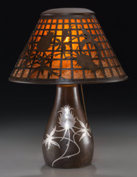 A Heintz Arts & Crafts Patinated Bronze and Silver Overlay Thistle Table Lamp, early