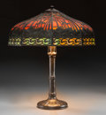 Lighting:Lamps, A Handel Bronze and Slag Glass Lamp with Exotic Desert Motif . Marks to base: HANDEL. 24 inches high x 20 inches diamete...