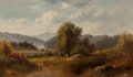 Fine Art - Painting, American:Antique  (Pre 1900), American School (Late 19th Century). Hudson River View withFisherman, 1887. Oil on canvas. 30-1/2 x 50-1/2 inches (77.5...