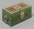 Silver Holloware, Continental, A Faberge-Style 14K Varigold, Diamond, Garnet, Enamel and SpinachJade Box, late 20th century. 1-5/8 h x 3-1/4 w x 1-3/4 d i...(Total: 2 Items)