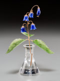 Silver & Vertu:Hollowware, A Faberge-Style 14K Gold, Lapis Lazuli, and Spinach Jade Lily of the Valley Flower Study in Rock Crystal Vase, l... (Total: 2 Items)