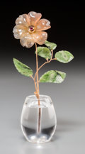 Silver Holloware, Continental:Holloware, A Faberge-Style 14K Gold, Spinach Jade, Garnet, and Rock CrystalAnemone Flower Study in Rock Crystal Vase, late... (Total: 2Items)