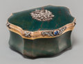 Silver Holloware, Continental:Holloware, A Faberge-Style 14K Gold, Diamond, and Bloodstone Pill Box, late20th century. 1-1/4 h x 2-1/2 w x 1-7/8 d inches (3.2 x 6.4...(Total: 2 Items)