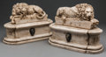 Decorative Arts, Continental, A Pair of Romanesque Carved Alabaster Recumbent Lions. 11 h x 15 wx 6 d inches (27.9 x 38.1 x 15.2 cm). ... (Total: 2 Items)