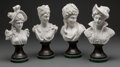 Decorative Arts, Continental:Other , Four Carved Italian Carrara Marble Female Busts. 12-1/2 inches high(31.8 cm) (each, approximate). ... (Total: 4 Items)