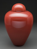 Glass, A Barovier & Toso Oxblood Glass Lidded Vase, Murano, Italy, 20th century. Marks: barovier & toso, murano. 14-1/4 inches ...