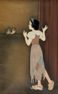 Animation Art:Production Cel, Snow White and the Seven Dwarfs Snow White at the Wishing Well Production Cel Courvoisier Setup (Walt Disney, 1937). ...