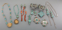 Twelve Tibetan and Asian 18K Gold Turquoise, Coral, Silver, and Mixed Media Jewelry Items, 19th century and later