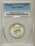 Washington Quarters, 1962-D 25C MS66 PCGS. PCGS Population: (272/9). NGC Census:(243/23). CDN: $95 Whsle. Bid for problem-free NGC/PCGS MS66. M...