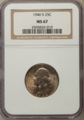 Washington Quarters, 1946-S 25C MS67 NGC. NGC Census: (349/3). PCGS Population: (135/6).CDN: $225 Whsle. Bid for problem-free NGC/PCGS MS67. Mi...
