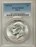Eisenhower Dollars, 1974-S $1 Silver MS68 PCGS. PCGS Population: (1206/3). NGC Census:(219/1). Mintage 1,900,156....
