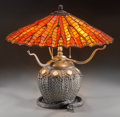 Art Glass:Other , An American Tiffany Studios-Style Leaded Glass and Bronze TableLamp with Snake & Basket Motif, 20th century. 18-1/...