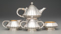 Silver Holloware, American:Tea Sets, A Five-Piece Reed & Barton Silver Art Deco Tea and CoffeeService, Taunton, Massachusetts, circa 1928. Marks:(eagle-R-lion)... (Total: 5 Items)