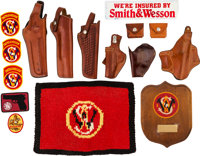 Lot of 6 Leather Revolver Holsters and Miscellaneous Smith & Wesson Items