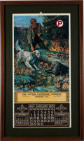 Ammunition, The Peters Cartridge Company Framed Chromolithograph 1923 Calendar....