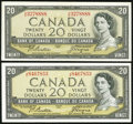 Canadian Currency, BC-41a $20 1954 Two Examples. ... (Total: 2 notes)