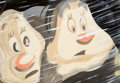 Animation Art:Production Drawing, Snow White and the Seven Dwarfs Happy and Bashful Painted Storyboard Art (Walt Disney, 1937). ...