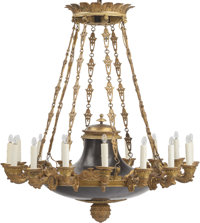 A Regency Style Gilt and Patinated Bronze Sixteen-Light Chandelier 41 inches high x 36 inches diameter (104.1 x 91