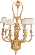 Decorative Arts, Continental:Lamps & Lighting, A French Louis XVI-Style Gilt Bronze Six-Light Figural Chandelier.43 inches high x 23 inches diameter (109.2 x 58.4 cm). ...
