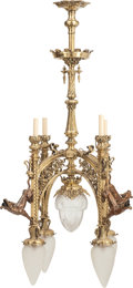 Decorative Arts, Continental:Lamps & Lighting, A Gothic Revival Polished Bronze Nine-Light Chandelier with HuntingDog Motif, early 20th c.. 44 inches high x 30 inches dia... (Total:5 Items)