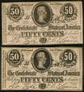 Confederate Notes, T72 50 Cents(2) 1864 PF-1 Cr. 578.. ... (Total: 2 notes)