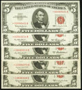 Five $5 Legal Tender Star Notes, Series 1953; 1953A; 1953B; 1953C; 1963. Crisp Uncirculated or better
