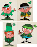 Animation Art:Concept Art, Lucky Charms Cereal Commercial Character Design Cels Group of 4(General Mills, c. 1960s). ... (Total: 4 Items)