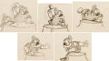 Animation Art:Production Drawing, Snow White and the Seven Dwarfs Doc and Dopey Storyboard ArtGroup of 5 (Walt Disney, 1937).... (Total: 5 Items)
