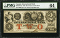 Canadian Currency, Toronto, CW- International Bank of Canada $2 Sep. 15, 1858 Ch. 380-10-10-12a. ...