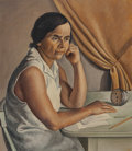 Fine Art - Painting, American:Contemporary   (1950 to present)  , Nathalie Newking (American, 1904-1954). Woman at a Desk. Oilon canvas. 32 x 28 inches (81.3 x 71.1 ...