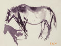 Fine Art - Work on Paper:Watercolor, Elaine de Kooning (American, 1919-1989). Horse- EastHampton, 1987. Watercolor on paper. 9 x 11-7/8 inches (22.9 x30.2 ...