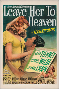 "Leave Her to Heaven (20th Century Fox, 1945). International One Sheet (27.75"" X 41.25""). Film Noir"