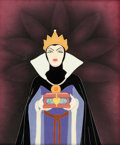 Animation Art:Production Cel, Snow White and the Seven Dwarfs Evil Queen with Heart BoxProduction Cel Courvoisier Setup with Walt Disney Signature ...