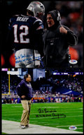 Football Collectibles:Photos, Bill Belichick Signed Photographs (Lot of 2)....