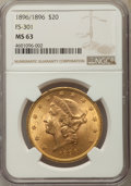 Liberty Double Eagles, 1896 $20 Repunched Date, FS-301, MS63 NGC....