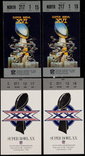 Football Collectibles:Tickets, 1982 and 1986 Super Bowl Ticket Stubs (Lot of 4)....