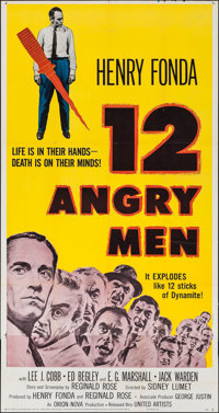 "12 Angry Men (United Artists, 1957). Three Sheet (41"" X 78""). Drama"