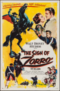 "Movie Posters:Adventure, The Sign of Zorro (Buena Vista, 1960). Flat Folded One Sheet (27"" X 41""). Adventure.. ..."
