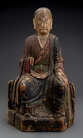 Asian:Chinese, A Chinese Carved and Polychromed Wood Seated Buddha Figure. 21-1/4inches high (54.0 cm). ...