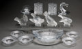 Glass, Fourteen Various Lalique Clear and Frosted Glass Tablewares, post-1945. Marks: Lalique, France. 2-1/2 h x 8-3/8 w x 7 d ... (Total: 14 Items)