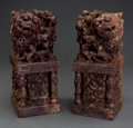 Asian:Chinese, A Large Pair of Chinese Carved Soapstone Allegorical Foo LionFigures. 12-1/2 inches high (31.8 cm). ... (Total: 2 Items)