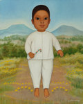 Fine Art - Painting, American, Gustavo Montoya (1905-2003). Niño con Paisaje. Oil oncanvas. 22-1/8 x 18 inches (56.2 x 45.7 cm). Signed lower right:...