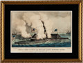 """Military & Patriotic:Civil War, [Civil War]. Currier & Ives Hand-Colored Lithograph """"The First Fight Between Iron Clad Ships of War. TERRIFIC COMBAT BETWEEN T..."""