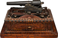 Wonderfully Detailed Model Wooden Cannon Memorial to the Loss of the USS Cumberland Sunk Mar