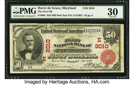 Havre de Grace, MD - $50 1902 Red Seal Fr. 664 The First NB Ch. # (E)3010 ...