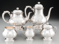 Silver Holloware, American:Tea Sets, A Five-Piece Frank W. Smith Silver Co. Inc. Silver Tea and CoffeeService, Gardner, Massachusetts, mid-20th century. Marks: ...(Total: 5 Items)