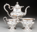 Silver Holloware, American:Tea Sets, A Three-Piece Gorham and Gorham-Durgin Silver Tea Set, Providence,Rhode Island, circa 1930. Marks: (lion-anchor-G), STERL...(Total: 3 Items)