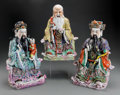 Asian:Chinese, Three Chinese Enameled Porcelain Seated Scholar and ImmortalFigures. 15-3/4 inches high (40.0 cm) (tallest). ... (Total: 3Items)
